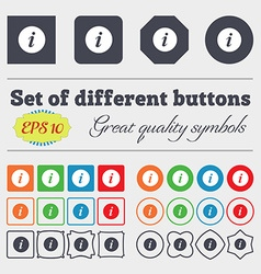 Info icon sign big set of colorful diverse vector