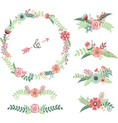 Wedding flower elements vector