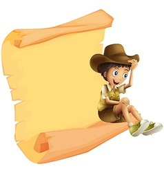 A boy and a paper sheet vector image vector image