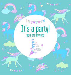 Bright birthday party card with unicorns and vector