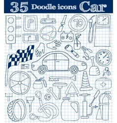 Car and drive set of 35 doodle icon in blue vector