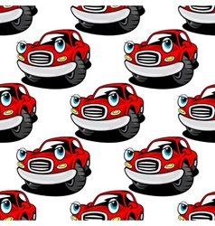 Cartooned cute red car seamless pattern vector image