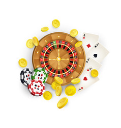 casino symbols - roulette chips cards coins vector image vector image