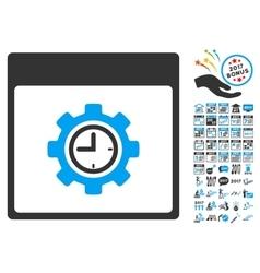 Clock configuration gear calendar page flat vector