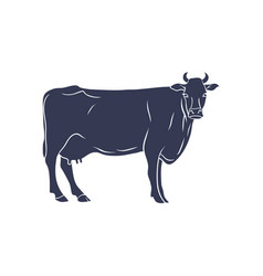 cow silhouette isolated on white background vector image vector image
