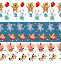 cute birthday seamless borders with cartoon vector image