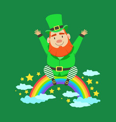 Cute cartoon dwarf leprechaun sitting on a rainbow vector