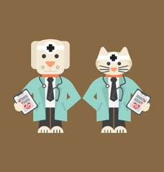 Dog And Cat In Doctor Uniform vector image