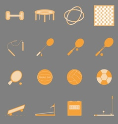 Fitness sport orange color icons on gray vector