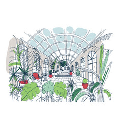 Freehand sketch of interior of greenhouse full of vector