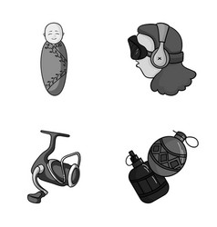 Game fishing and other monochrome icon in cartoon vector