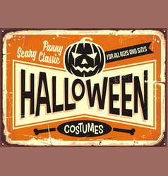 Halloween costumes shop vintage advertising sign vector
