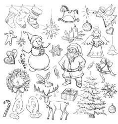 Hand drawn Christmas and New year elements vector image