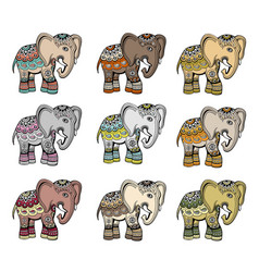 Indian ethnic elephant set vector