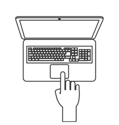 Laptop topview with hand icon line design vector