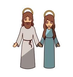 Mary and jesus cartoon of holy night design vector