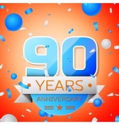 Ninety years anniversary celebration on orange vector image