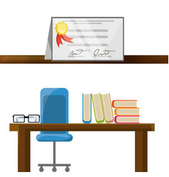 office with diploma and study tools vector image