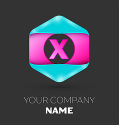 Realistic letter x logo in colorful hexagonal vector
