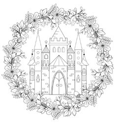 Relaxing coloring page with fairy castle in forest vector