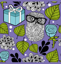romantic background with smart owl and blue roses vector image