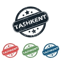 Round tashkent city stamp set vector