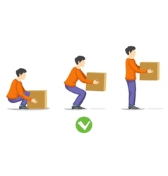 Safety correct lifting of heavy box vector image