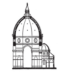 Section of the dome of duomo florence vintage vector