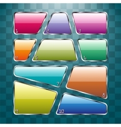 Set of colorful plates on abstract background vector image