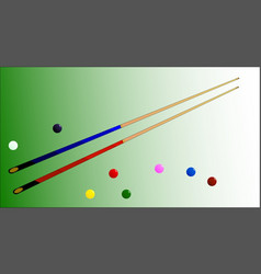 Snooker cues and balls vector