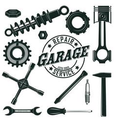 vintage mechanic tools set vector image