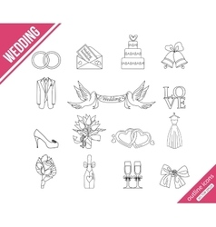 Wedding outline icons set vector image vector image
