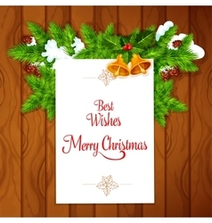 Xmas card with holly berry on wooden background vector