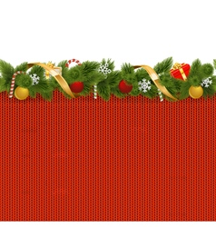 Christmas border with knitted pattern vector