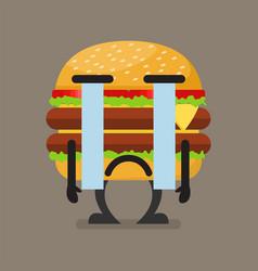 Burger character crying vector