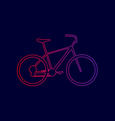 Bicycle bike sign  line icon with vector