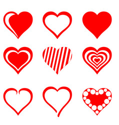 Collection of red hearts vector