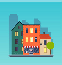 Town houses urban landscape city flat design vector