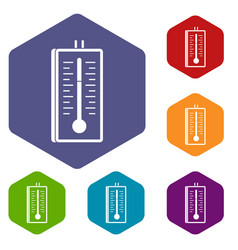 Thermometer icons set hexagon vector