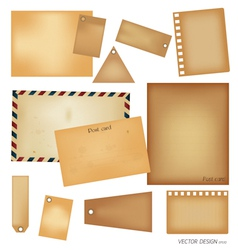 Vintage postcard envelope set vector