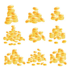 Golden coins set isolated on white background vector