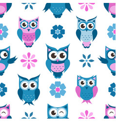 Seamless pattern with funny owls and flowers vector
