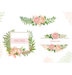 Card with flowers set of cards vector