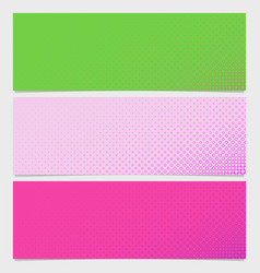 halftone circle pattern banner template set - vector image