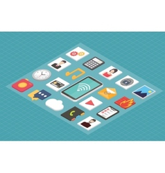 Isometric 3d smartphone with mobile applications vector image