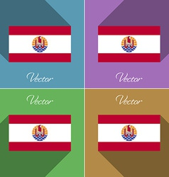 Flags french polynesia Set of colors flat design vector image