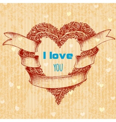 I love you typing over heart wreath valentines day vector