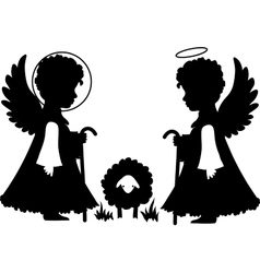Cute angels silhouettes set vector