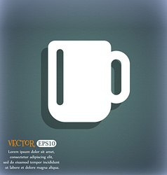Cup coffee or tea icon symbol on the blue-green vector