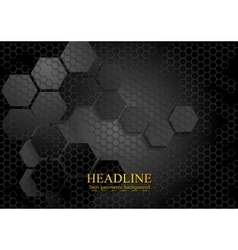 Tech geometric black background with hexagon vector